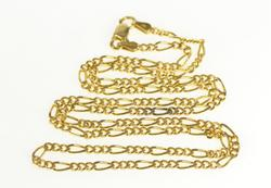 14K Yellow Gold 2.3mm Figaro Chain Fancy Link Necklace