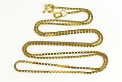 14K Yellow Gold 1.0mm Square Chain Classic Box Link Necklace
