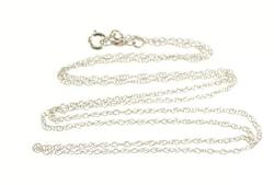 10K White Gold 0.7mm Cable Rolling Spiral Link Chain Necklace