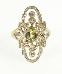 18K White Gold 1.85 Ctw Ornate Filigree Zircon Diamond Dinner Ring