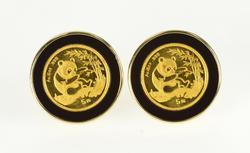 14K Yellow Gold Panda 1/20th oz Coin Black Onyx French Clip Earrings
