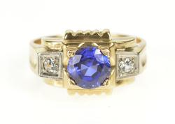 10K Yellow Gold Men's 1940's Syn. Sapphire CZ Statement Ring