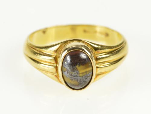 18K Yellow Gold Unique Tiger's Eye Cabochon Retro Statement Ring