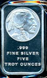 Impressive Buffalo Nickel design 5 Troy Oz .999 silver