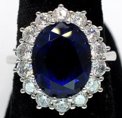 Huge Blue Crystal Halo Ring in Sterling Silver
