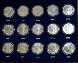 15 PIECE SET BU SILVER EAGLES IN BOX & PAPERS 1986-2000