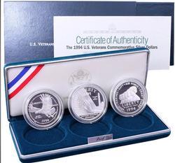 1994 3-PIECE SET OF U.S. VETERANS SILVER DOLLARS PROOF