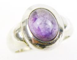 Sterling Amethyst Cabochon Ring, Size 7.25