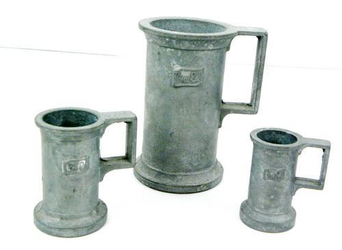 3 Vintage Italian Pewter Measuring Cups
