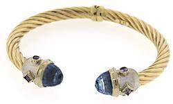 Fabulous Blue Topaz and Tanzanite Rope Hinged Cuff