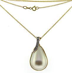 Stunning Mabe Pearl Pendant w Diamond Bail
