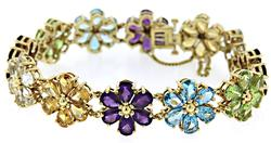 Charming 18kt Multi Gemstone Flower Bracelet