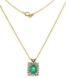 Glowing Emerald and Diamond Halo Necklace