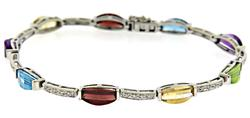 Great Multi Gemstone and Diamond White Gold Bracelet