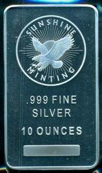Prooflike Sunshine Mining Pure 10 Troy oz Silver Bar