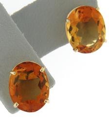 Classic Yellow Gold Citrine Oval Stud Earrings