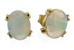 Simple Oval Opal Yellow Gold Stud Earrings