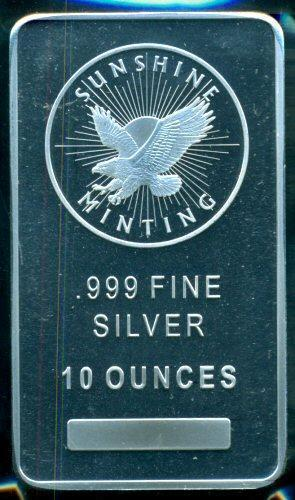 Prooflike Sunshine Mining Pure 10 Troy oz Silver Bar