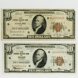 2 1929 $10 National Currency Notes Chicago & Cleveland
