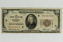 1929 $20 Richmond Va National Currency Note