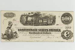 CU $100 Confederate States Note Oct 1 1862 Series T-40