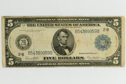 $ 5 Series  Of 1914 NY  Lincoln Federal Reserve Note