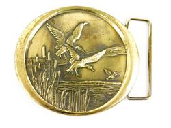 Vintage Solid Brass Flying Geese Belt Buckle