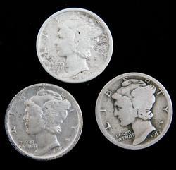 3 U.S. Mercury Dimes