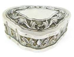 Early Sterling Silver Repousse Trinket Box