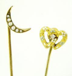 2 Antique 14K Gold Stick Pins
