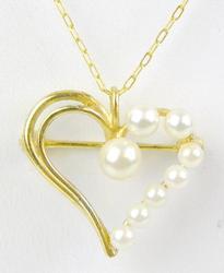 Sterling Vermeil Pearl Heart Pendant & Chain
