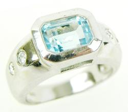 Nice Sterling Blue Topaz & CZ's Ring, 7.5