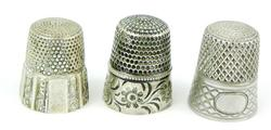 3 Antique Sterling Silver Thimbles