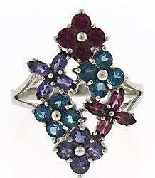 Sterling Silver Milti Gemstone Flower Style Ring