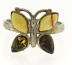 Sterling Silver Butterfly Gemstone Ring