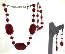 Set of Red Stone Necklace. Bracelet and Earrings