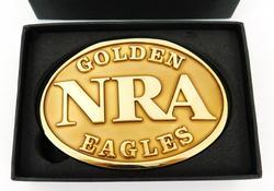 NRA Golden Eagles Belt Buckle, Mint in Box