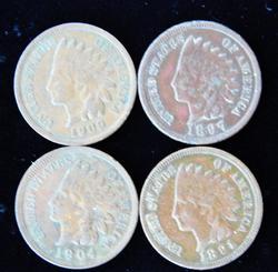 4 U.S. Indian Head Pennies
