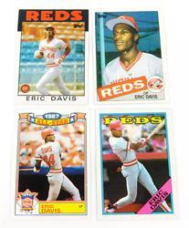 4 Eric Davis Topps Baseball Cards