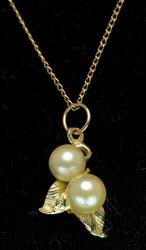 Double Pearl Pendant and Chain in 14KT Yellow Gold