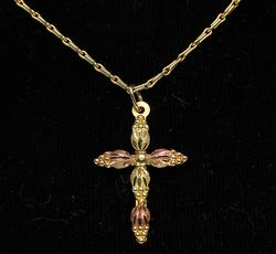 Two Tone Gold Cross & Chain