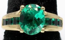 Striking Synthetic Emerald Ring in Yellow Gold