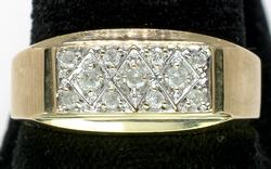 Mens Diamond Textured Ring In Yellow Gold