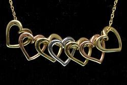 14KT Tri Color Heart Necklace