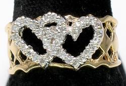 14 KT Double Heart Diamond Ring