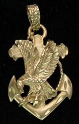 American Eagle on an Anchor Pendant, 14KT