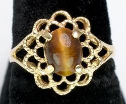 Vintage Tiger Eye Ring in Yellow Gold