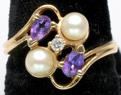 Pearl & Amethyst Ring in Gold with Diamond Accent
