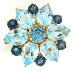 Amazing Multi Blue Topaz Yellow Gold Brooch