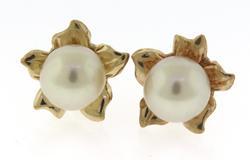 Fabulous Yellow Gold Pearl Flower Earrings